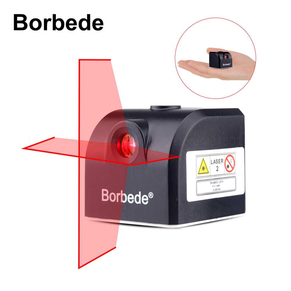 Borbede Laser Level 2 Red Horizontal and Vertical Cross Lines, Rechargeable Super Mini Pocket Size