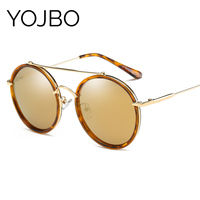 YOJBO 100 UV Real Polarized Retro Sunglasses Women Summer Alloy Ladies Sun Glasses Round Mirrored Eyewear