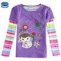 Nova Дети 2016 новый стиль фиолетовый весна/осень/зима с длинным рукавом с прекрасной девушки и детские футболки 2 Т-6 Т размер горячая продажа