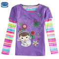 Nova Kids 2016 new style purple spring/autumn/winter long sleeve with lovely girl and flower girl t-shirt 2T-6T size hot sale
