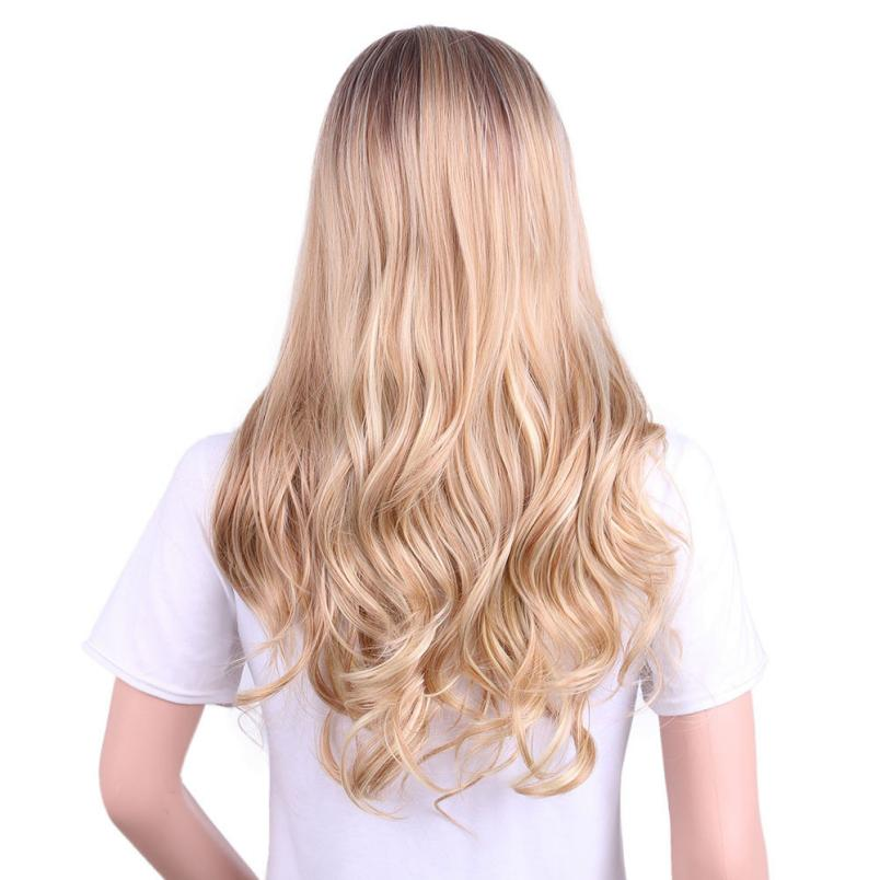 New Gold Hair Lace Front Full Wig Long Synthetic Wigs For Women Heat Friendly 5U1020