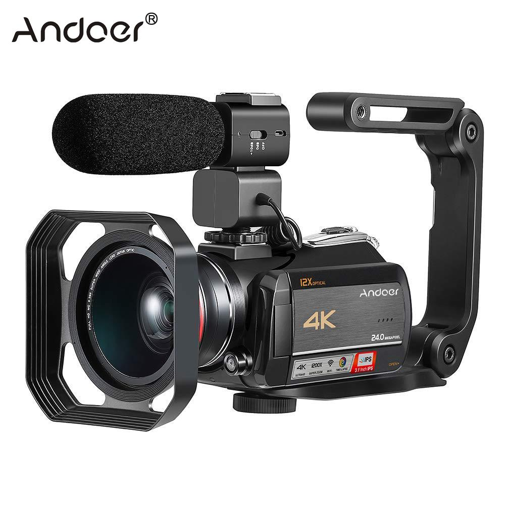 Andoer AC5 Touchscreen 4K UHD 24MP WiFi Digital Video Camera Camcorder Recorder DV+0.39X Wide Angle Lens+External Microphone-in Consumer Camcorders from Consumer Electronics    1