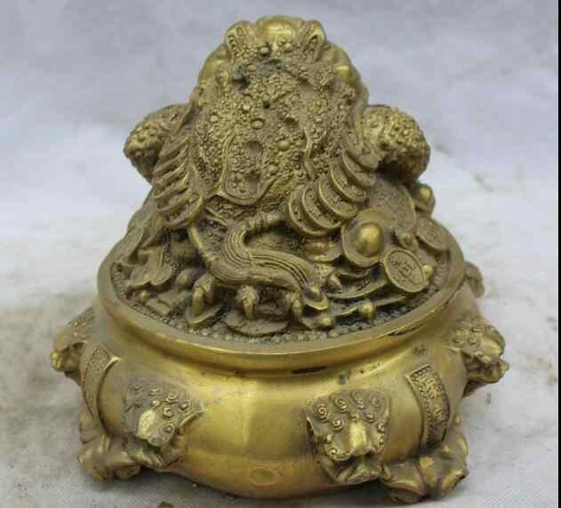"""7 """"الصينية الشعبية النحاس الثروة الكنز السلطانية الذهبي العلجوم Spittor الأسد رئيس تمثال سريع"""