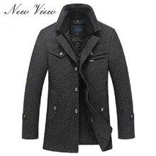 Новый 2016 Зима Шерстяное Пальто Slim Fit Куртки Мода Верхняя Одежда Теплый Человек Повседневная Куртка Пальто Бушлат Плюс Размер M-XXXXL