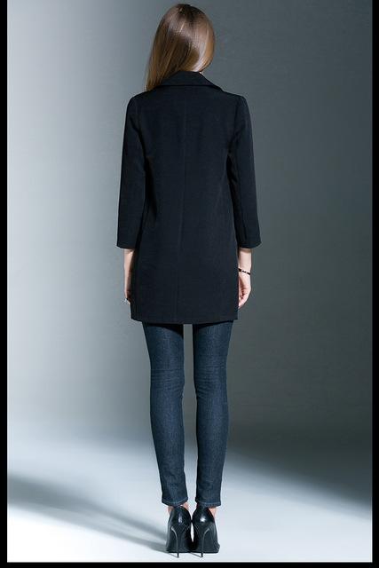 ENJOY PLUS 7%OFF chest 89-119cm autumn winter 2016 black long blazer women big size and jacket with pocket brand lady M- 5XL