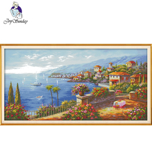 Joy Sunday,cross stitch embroidery set,printing cloth embroidery,Scenery pattern cross kit,needlework patterns