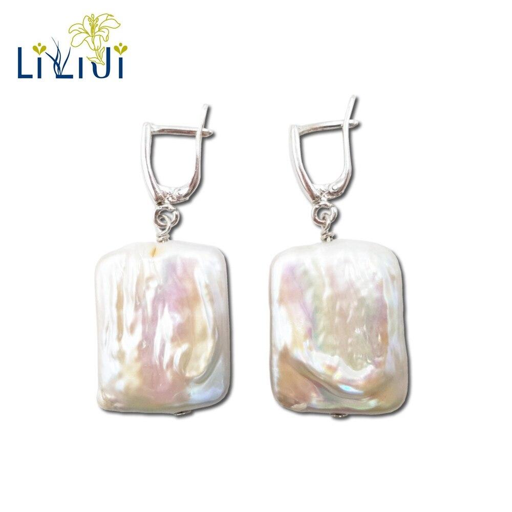 Lii Ji Unique Real Big Square Baroque Pearl 925 Sterling Silver Dangle Earrings