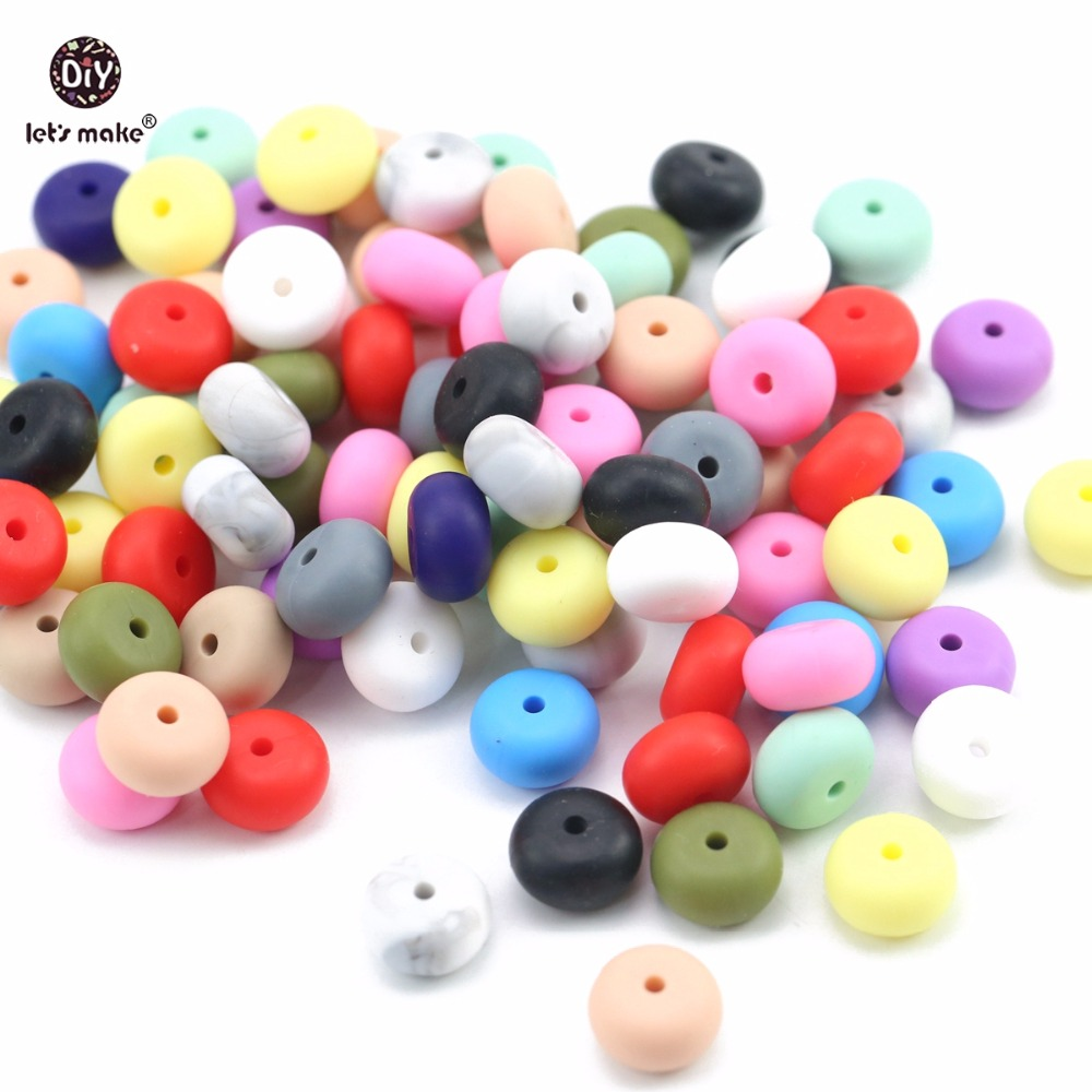 Let's Make Wholesale 500pc Abacus Beads Food Grade Teether Beads Baby Gift Accessories Chew Toys DIY Jewelry Baby Teething 14mm