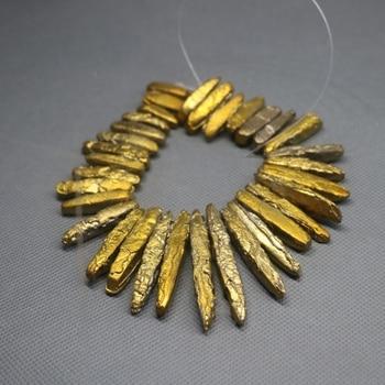 Kindgems, piedra galvanizada de titanio de 2 hebras de 8 pulgadas, colgante de punto de sedimento, accesorios para hacer joyas