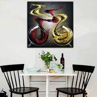 מודרני אמנות קיר בית תפאורה גדולה תמונות ציור יין וכוסות למטבח מופשט יד מצוירת ציורי שמן על בד כמתנה
