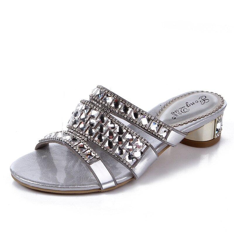 Rhinestone 2017 New Summer Sandals Women Brand Designer Genuine Leather High Heel Shoes Black Roman Slippers Female Flip-Flops
