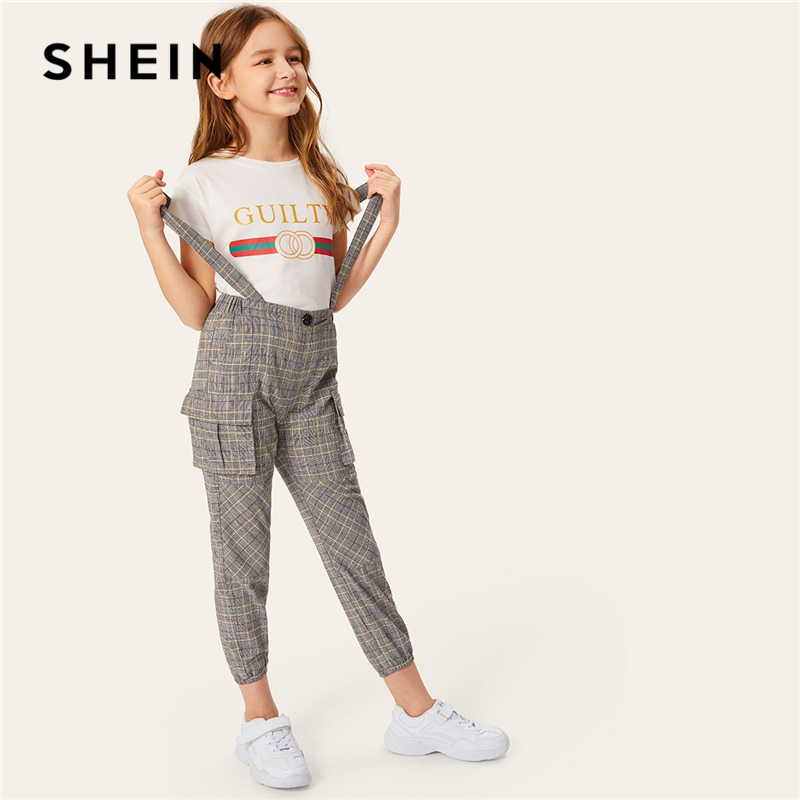 SHEIN Kiddie Girls Brown Flap Pocket Side Plaid Pants With Strap Child 2019 Summer Preppy Button Front Teenager Casual Jumpsuits madam t madam t ma422ewepc37