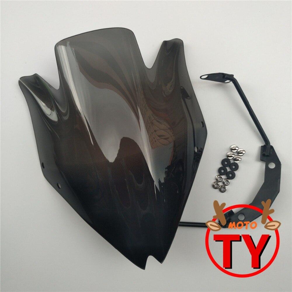 Black Motorbike Windshield Windscreen w/Bracket for Kawasaki Z750 Z 750 Z750R 2007-2012 High Quality Smoke Clear