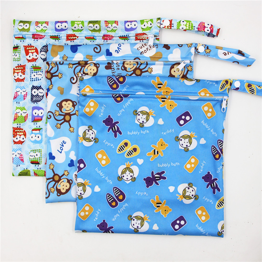 Cute Cartoon Striped Baby Diaper Bag Waterproof Travel Maternity Small Wet Bags for Mommy Storage Stroller Accessories 28*30cm