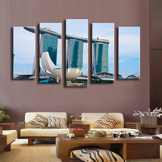 5pcs Booking Pool Singapore Wall Painting For Home Decor Oil Art Print Canvas