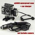 Sjcam sj 4000 камеры аксессуары оригинал sj4000 Водонепроницаемый Чехол + автомобильное зарядное устройство для SJ4000 SJCAM SJ 4000 Wi-Fi плюс для мотоцикл