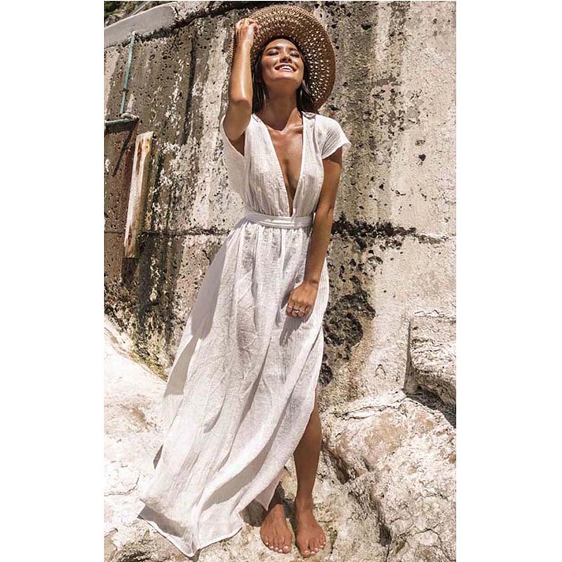 Ashgaily Sarong Wrap Dress Bikini Skirt Swimsuit Cover-Up Beach-Wear Cotton Tunic White title=