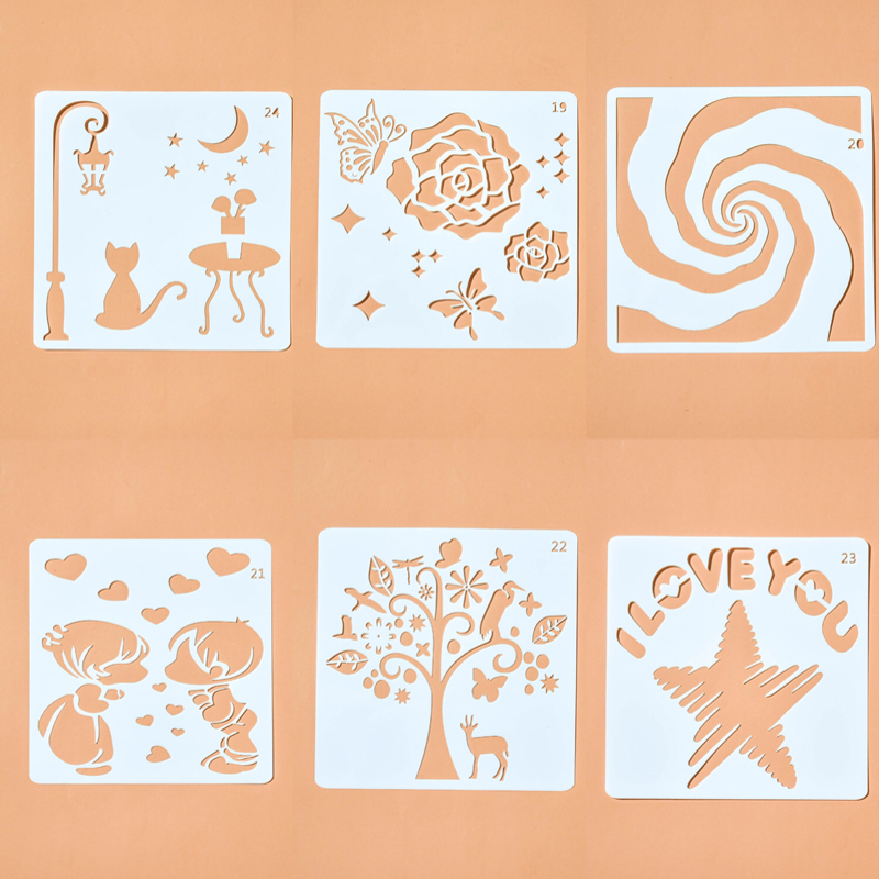 Romantic Design Pvc Layering Stencils For Wall Painting Material Scrapbooking Stamp Decorative Art Supplies Cake Stencil Custom