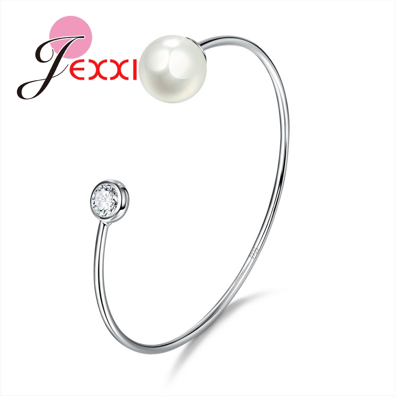 High Quality 925 Sterling Silver Bracelet For Women Top AAA CZ   Jewelry With Big Pearl For Ladies Fashion Bangles