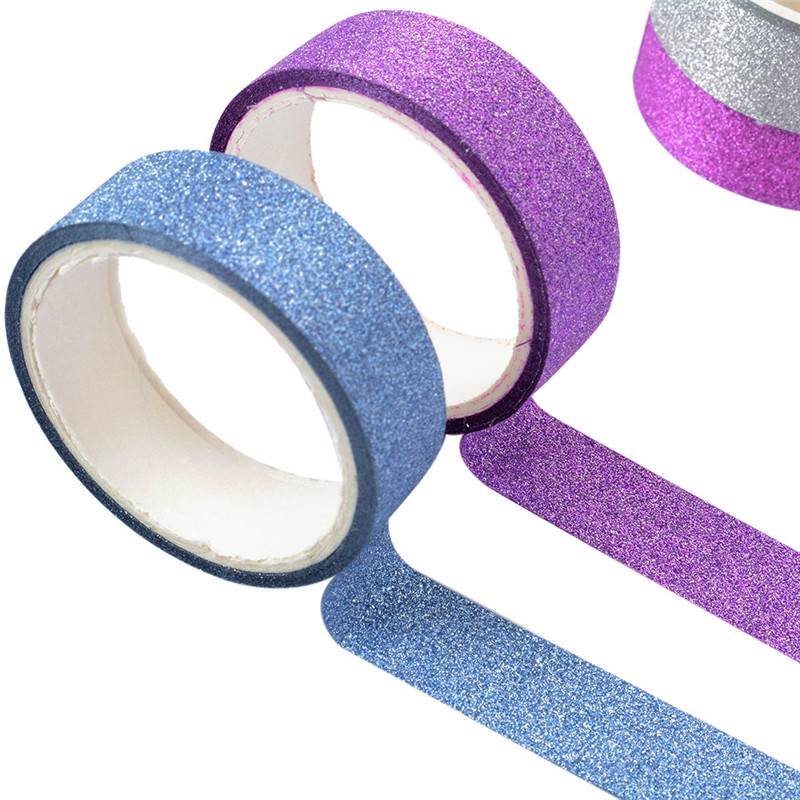Glitter Washi Tape 5m Roll 15mm Wide Self Adhesive Sticky Backed Wrapping