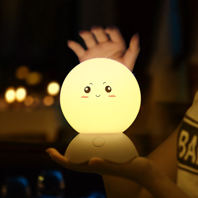 LED Night Lights Cute Silicone Baby Night Light Portable Rechargeable Color Changing Bright Bedroom Bedside Table Lamp Decor