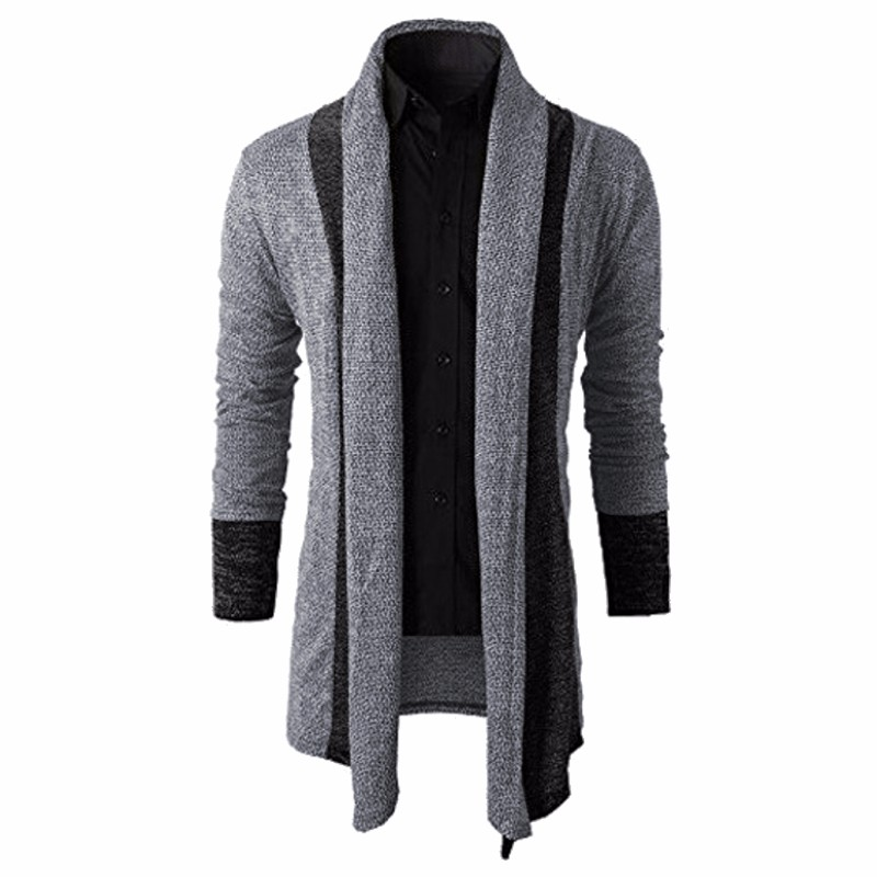 2018 Knitted Cardigan Men Sweater Men Shawl Collar Long Sleeve Open