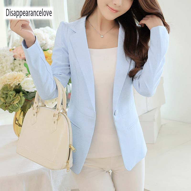 New Fashion Spring Women Slim Blazer feminino Coat Casual Jacket Long Sleeve One Button Suit White Ladies Blazers Work Wear