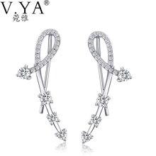 100% Genuino Puro S925 Solid Silver Stud Pendientes de Joyería de Las Mujeres Austria Crystal 925 Sterling Silver Earring DE05
