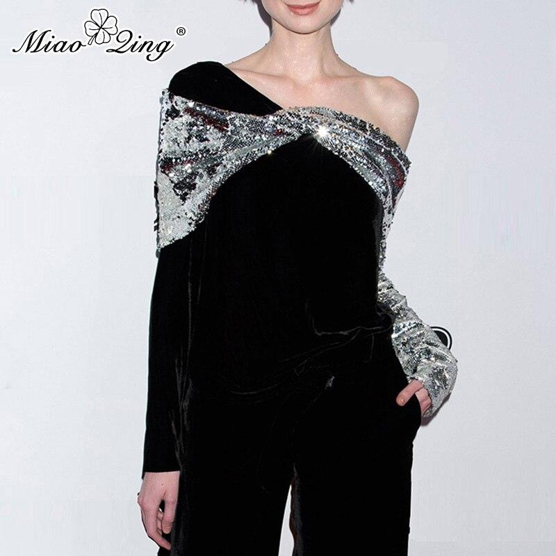 MIAOQING printemps chemise à manches longues femmes Sexy hors de l'épaule hauts Patchwork argent paillettes velours T-shirt noir dames vêtements