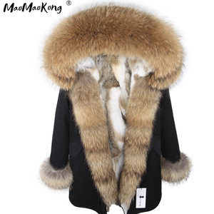 Image 1 - Fashion Women Parkas Rabbit Fur Lining Hooded Long  Coat Outwear Army Green Large Raccoon Fur Collar Winter Warm Jacket DHL
