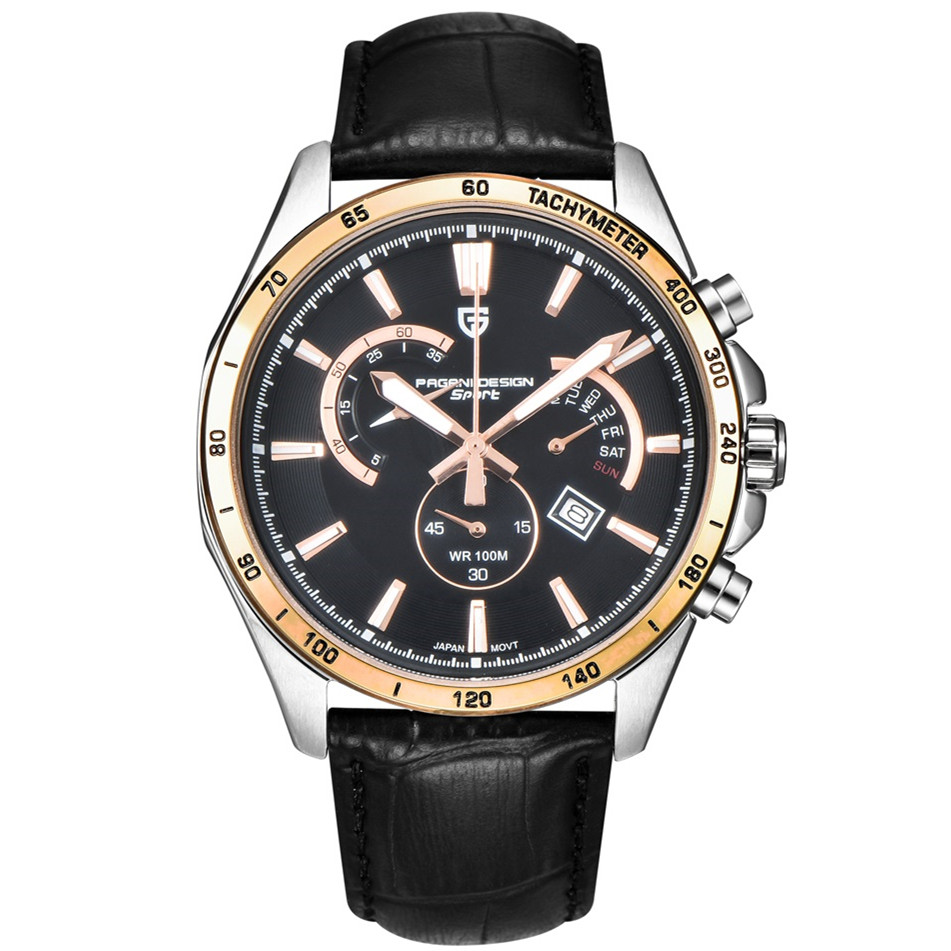цена на PAGANI DESIGN Business casual sports chronograph watch fashion watch calendar luminous belt men's watches (PS-3304)