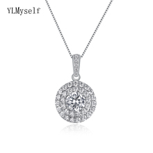 цена на Silver metal Elegant round crystal suspension chain pendant necklace white jewelry nice 925 sterling silver Amazing pendants