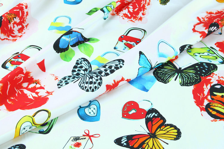 100X145cm Romantic Theme Fresh Witty Collection with Padlock and Butterfly White Cotton Fabric for Woman Summer Dress DIY-AF455