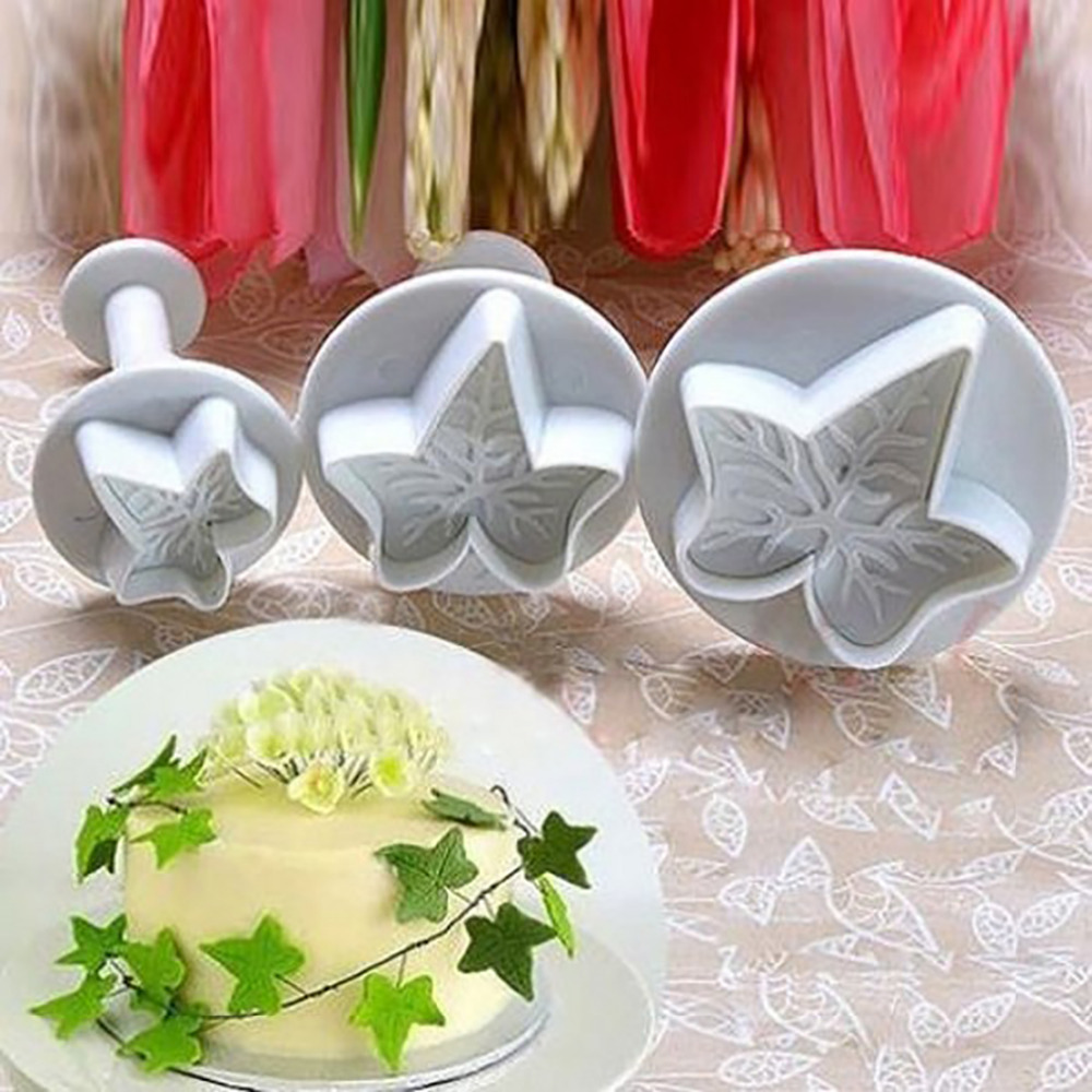 Free Shipping 3Pcs/Set Maple Leaf Shape Fondant Cookie Cake Sugarcraft Plunger Cutters Mold Tools Cookie Cutter