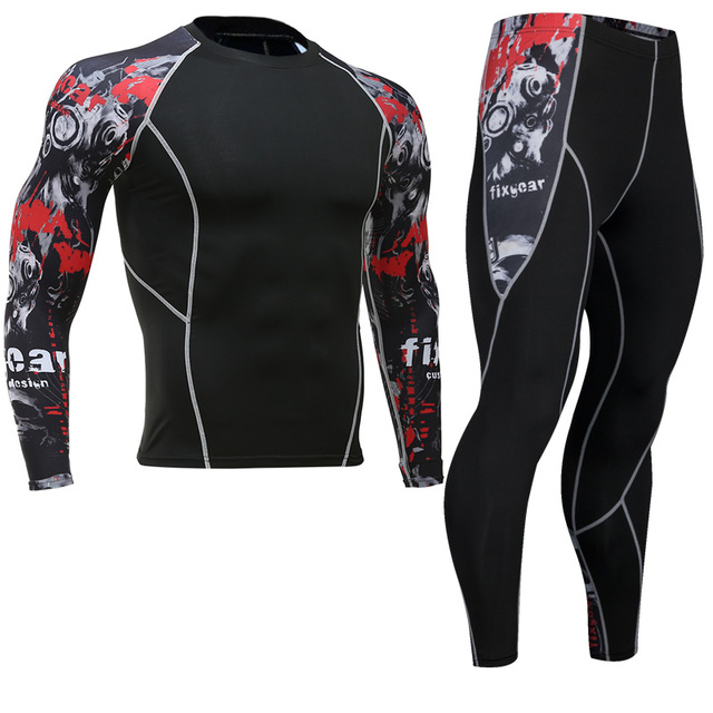 2018long-sleeved workout clothes tights men's compression stretch quick-drying breathable T-shirt tactical men's T-shirt