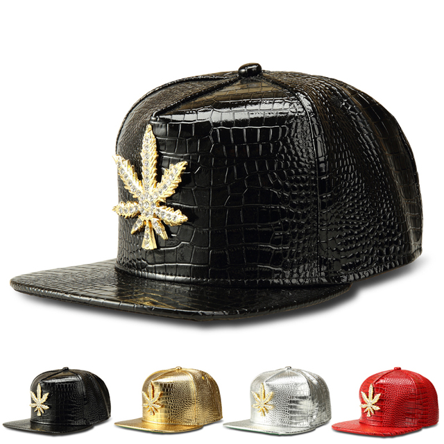 a0c20c4741a55 NYUK New Fashion PU Mens Hip Hop Weed Baseball Caps Casual Unisex Hat Golden Silver Black Red  Snapback Street Style