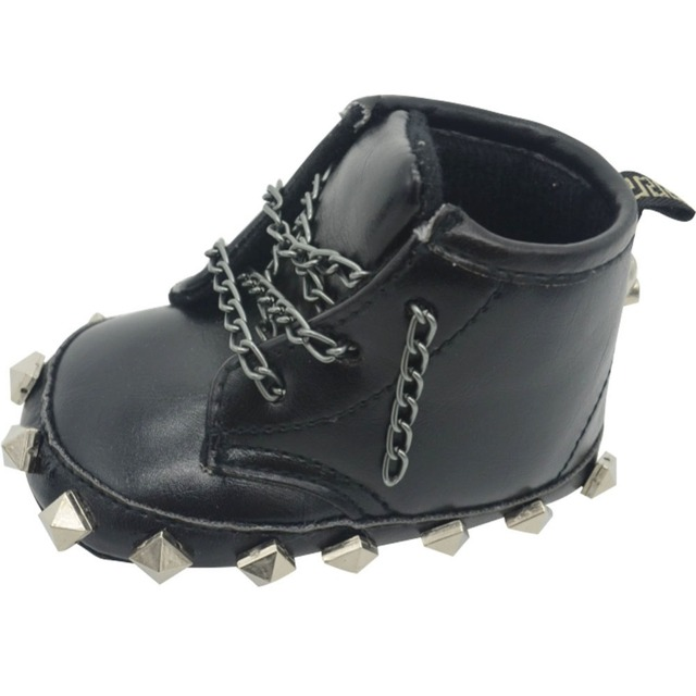 fc903ff607c42 New Newborn Baby Shoes Boys Kids DIY Infant Toddler Punk Metal Lace-Up  Rivet Skull First Walkers Handmade Sneakers Martin Boots
