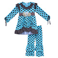 Toddler Girls Boutique Polka Dot Outfits Full Sleeve Flower Tunic Top Double Ruffle Pants Baby Kids Spring Clothing Sets F077