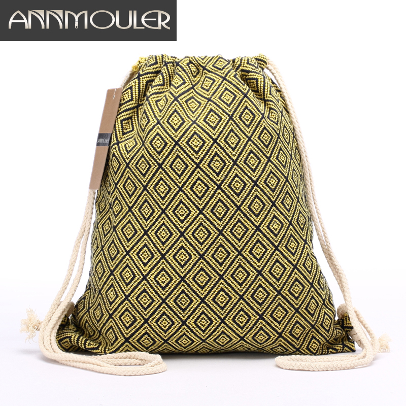 Frauen Rucksack Böhmischen Stil Umhängetasche Vintage Rucksack Gypsy Chic Hobo Bag Hippie Aztec Tribal Bag Kordelzug Rucksäcke