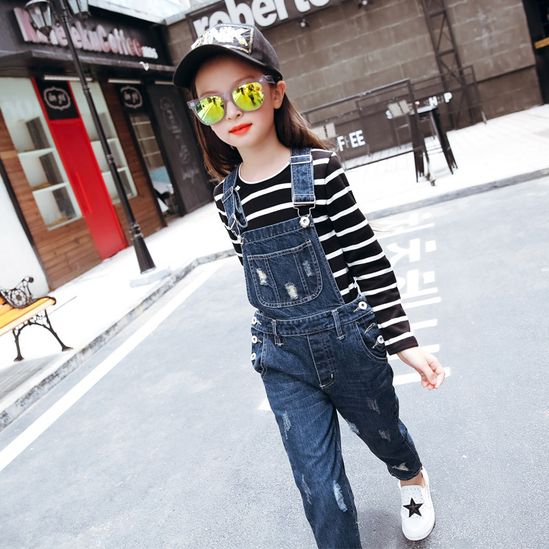 Spring Girls Braces Jeans Pants Children New Kids Overalls Trousers Dark Blue Hole Cowboy Demin plus size pants the spring new jeans pants suspenders ladies denim trousers elastic braces bib overalls for women dungarees