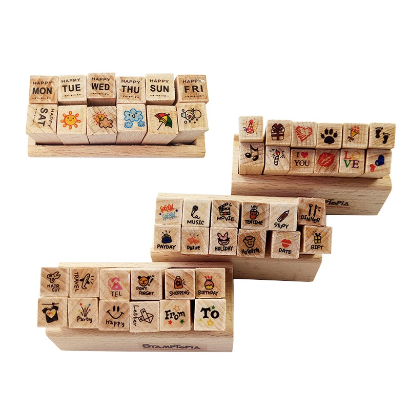 12 Pcs/set New Cartoon Pattern Wooden Stamp Set Happy Life Love & Travel Dairy Wooden Rubber Stamp