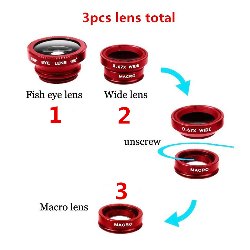Universal Fisheye Lens 3 in 1 Mobile Phone Clip Lenses Fish Eye Wide Angle Macro Camera Lens for Smartphone iPhone 6 Microscope 1
