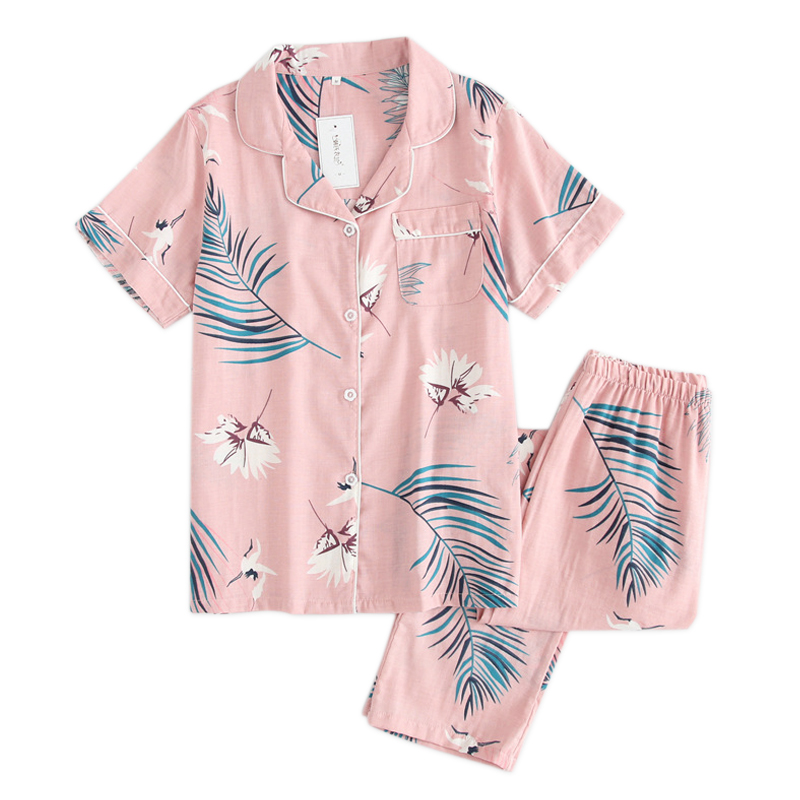 Fresh short sleeve summer pyjamas women 100% gauze cotton sleepwear women casual Korea   pajamas     sets   women homewear New Sale