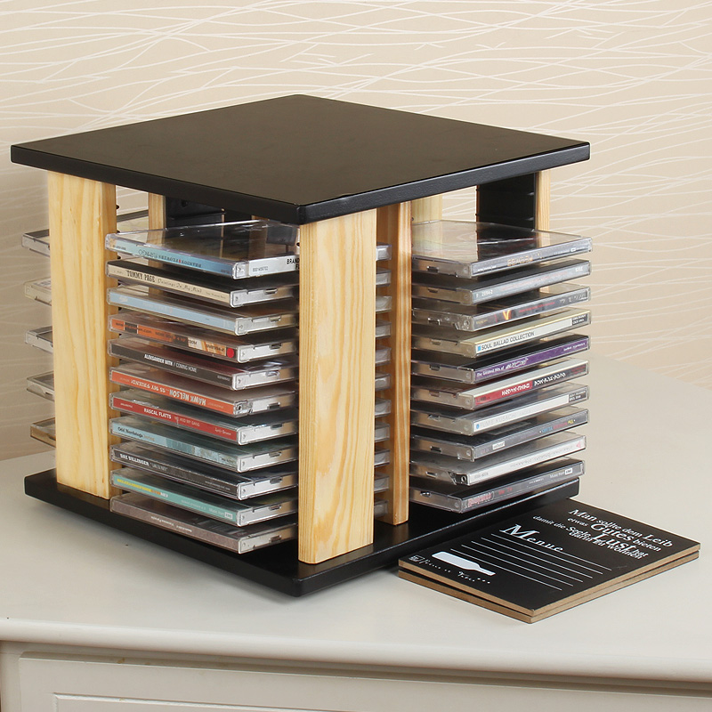 free shipping solid wood cd rack disc disc rotating wooden cd large capacity cd on sale