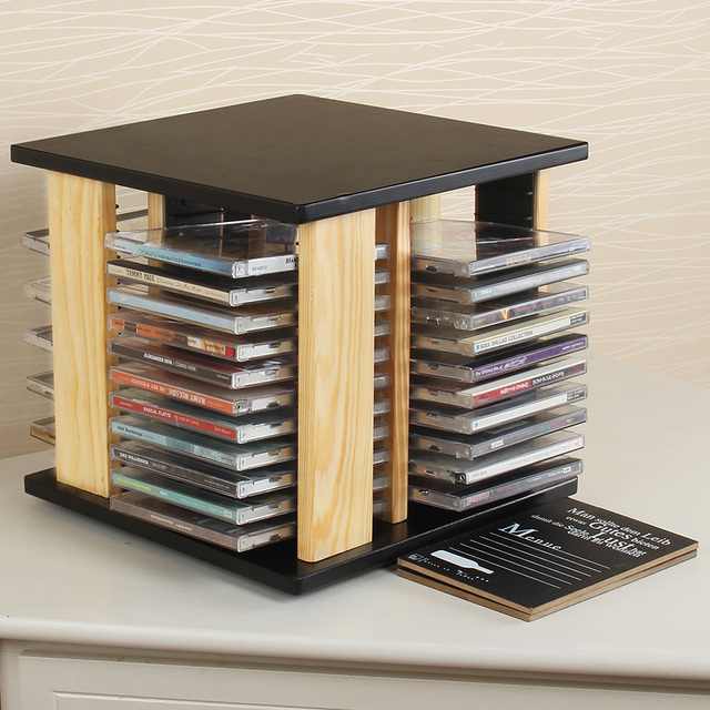 Free Shipping Solid Wood Cd Rack Disc Disc Rotating Wooden Cd Large