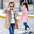 Autumn Girls Long New Coat Color England All-match Long Sleeved Jacket Kids Clothing Pink Khaki Cotton
