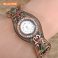 Blucome Brand Turkish Bracelet Watches Anti Gold Plated Women Vintage Bracelets Bangles Clock Relojes Mujer Hollow Wrist Joias