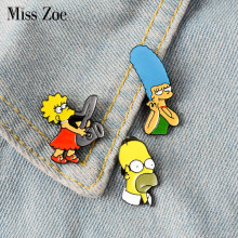 Marge Homer Lisa Enamel Pin Lencana Bros TV Kartun Kerah Pin Kemeja Denim Kerah Komedi Keluarga Humor Perhiasan Hadiah(China)