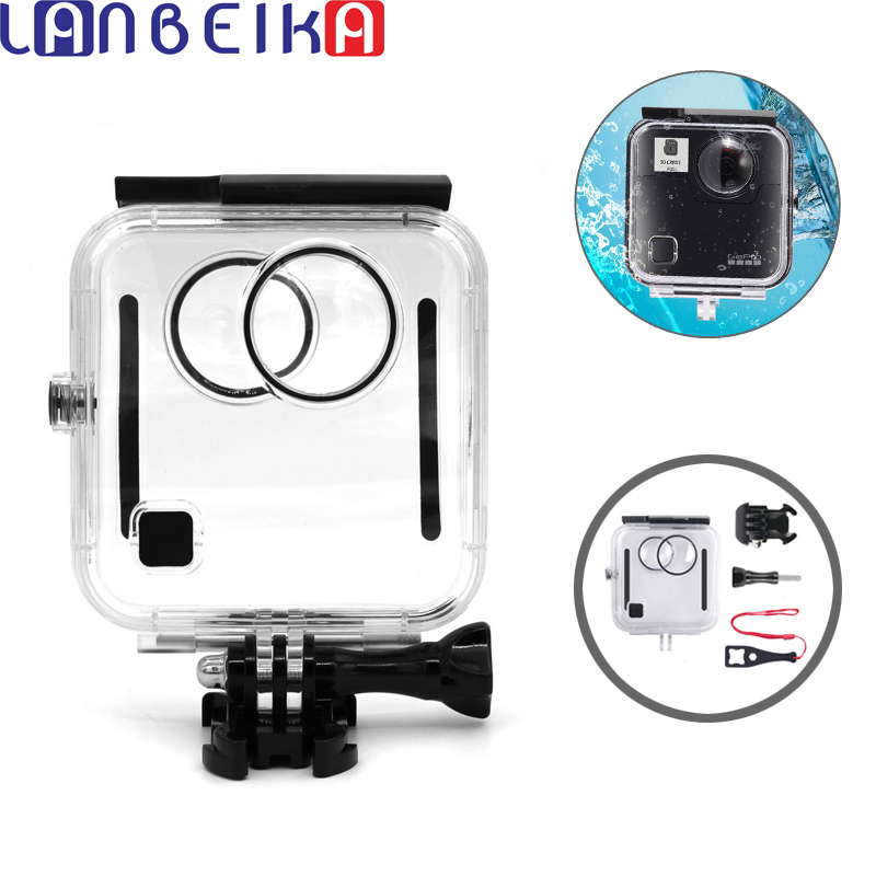 LANBEIKA 45M Waterproof Housing Case Fusion 360 Camera Underwater Box Back Door For GoPro Fusion Action Camera Accessories 45m waterproof case mount protective housing cover for gopro hero 5 black edition