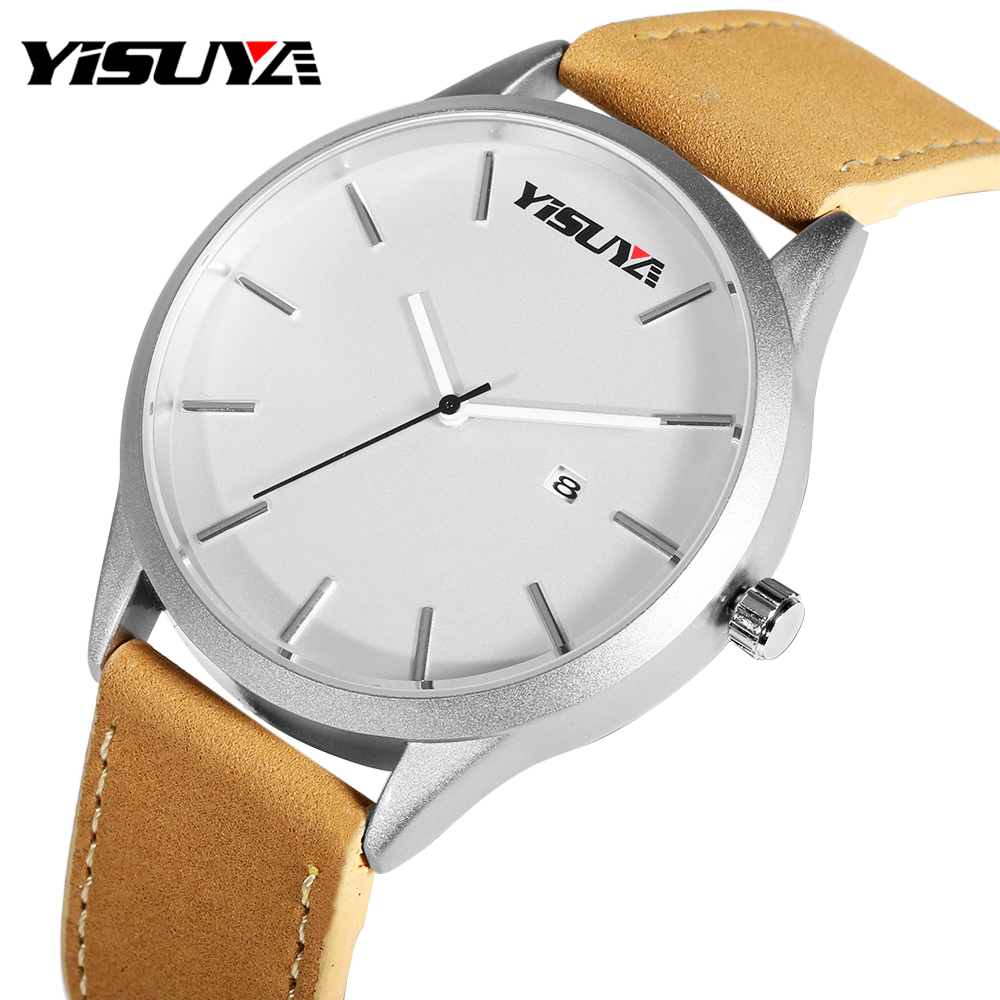 Men Casual Watches Luxury YISUYA Quartz Wrist Watch Calendar comfort Leather Band Fashion Business Japanese Movement Man's Hour